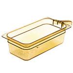 "Carlisle 30861H13 StorPlus High Heat Food Pan w/ Handle - 1/3 Size, 4""D, Amber"