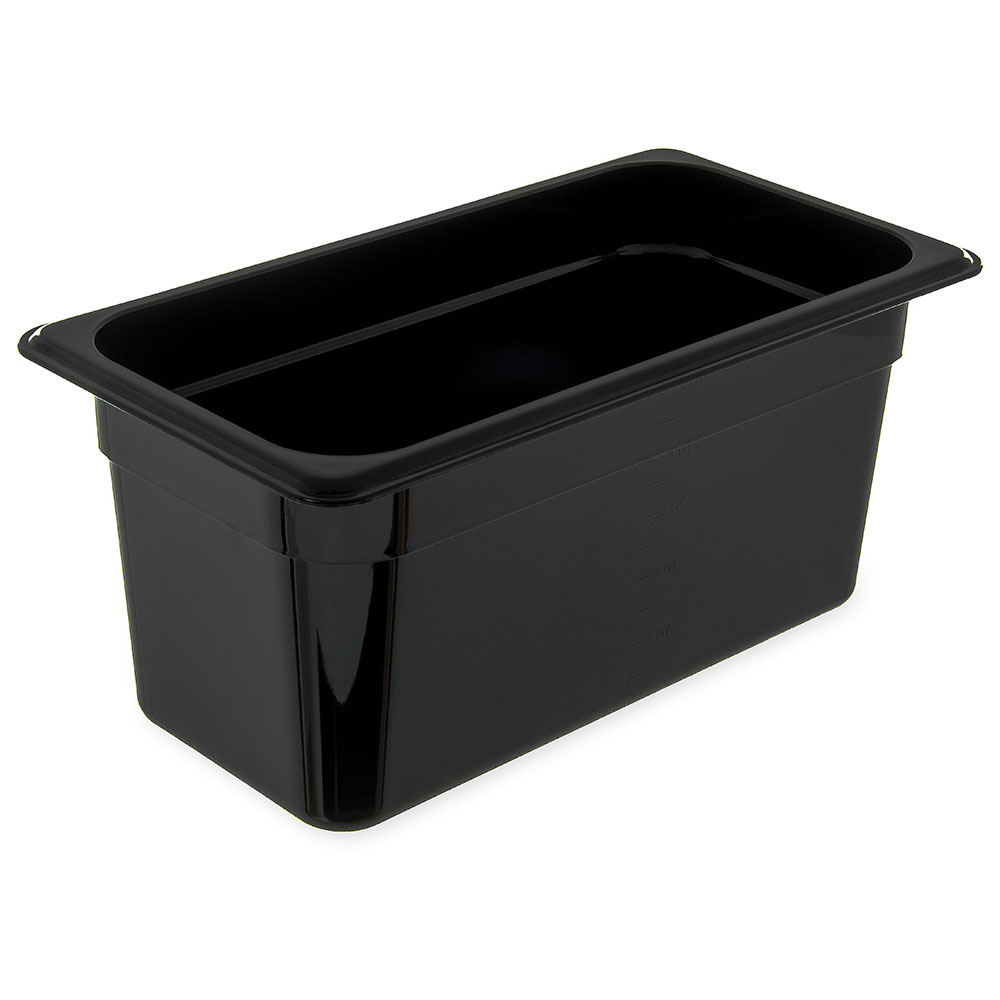 "Carlisle 3086203 High Heat 1/3 Size Food Pan - 6""D, Black"