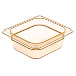 "Carlisle 3088113 StorPlus High Heat Food Pan - 1/4 Size, 4""D, Amber"