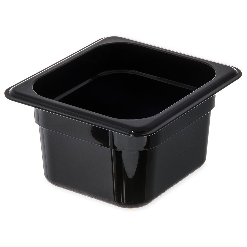 "Carlisle 3088403 StorPlus High Heat Food Pan - 1/6 Size, 4""D, Black"