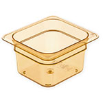 "Carlisle 3088413 StorPlus High Heat Food Pan - 1/6 Size, 4""D, Amber"