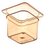 "Carlisle 3088513 High Heat 1/6 Size Food Pan - 6""D, Amber"