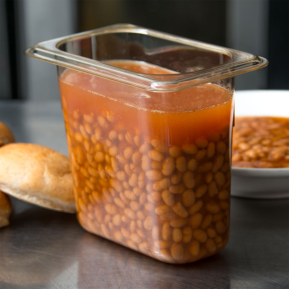 "Carlisle 3088813 StorPlus High Heat Food Pan - 1/9 Size, 6""D, Amber"