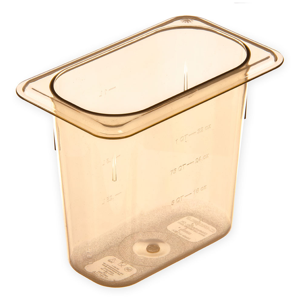 "Carlisle 3088813 StorPlus High Heat Food Pan - 1/9 Size, 6""D, Amber"