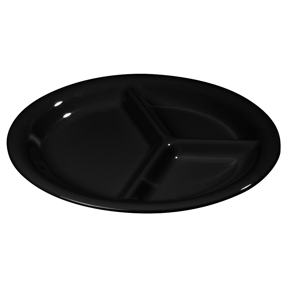 "Carlisle 3300003 10-1/2"" Sierrus Plate - 3-Compartment, Melamine, Black"