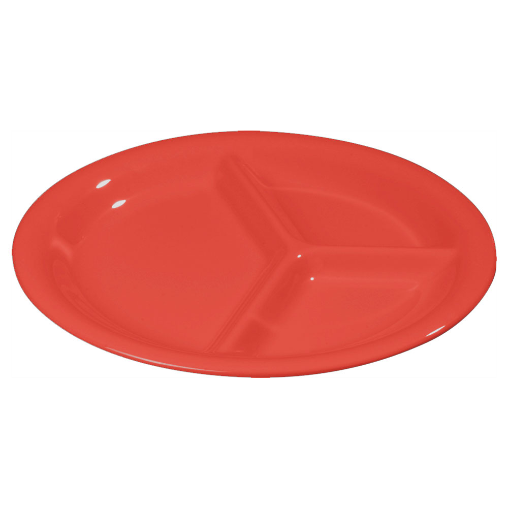 "Carlisle 3300005 10-1/2"" Sierrus Plate - 3-Compartment, Melamine, Red"