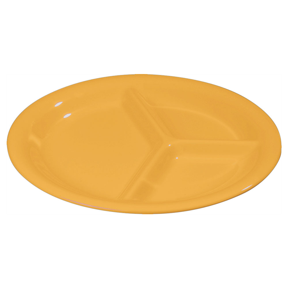 "Carlisle 3300022 10-1/2"" Sierrus Plate - 3-Compartment, Melamine, Honey Yellow"