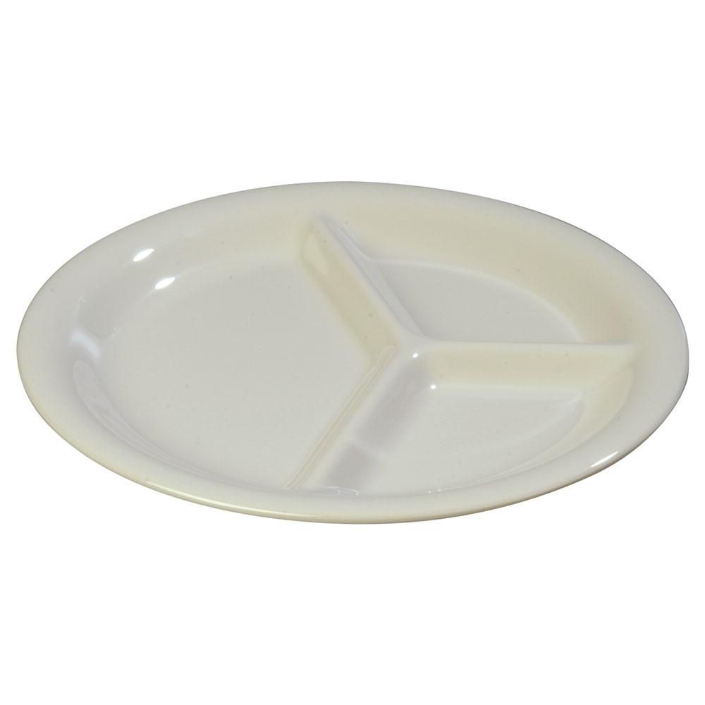 "Carlisle 3300042 10-1/2"" Sierrus Plate - 3-Compartment, Melamine, Bone"