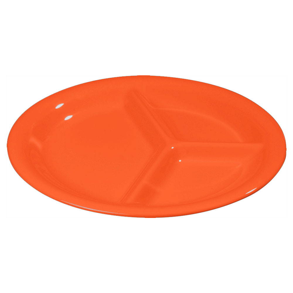 "Carlisle 3300052 10-1/2"" Sierrus Plate - 3-Compartment, Melamine, Sunset Orange"