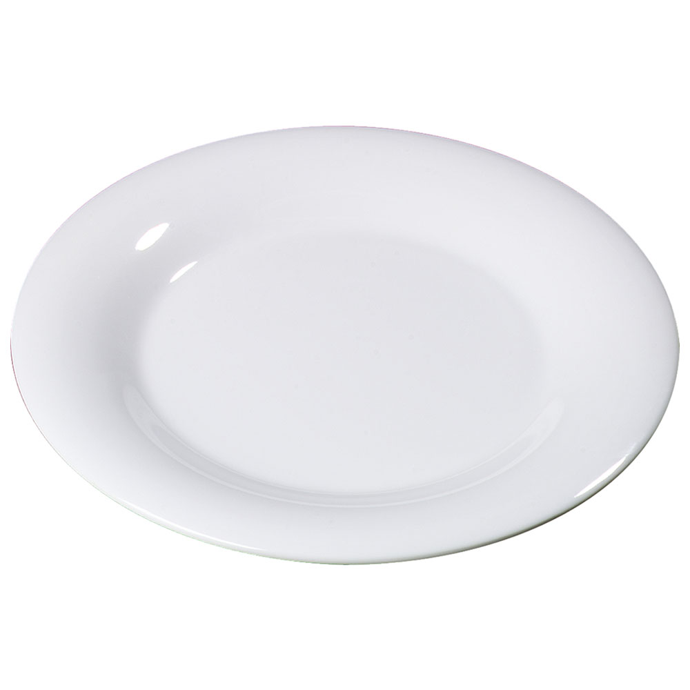 "Carlisle 3301002 10-1/2"" Sierrus Dinner Plate - Wide Rim, Melamine, White"
