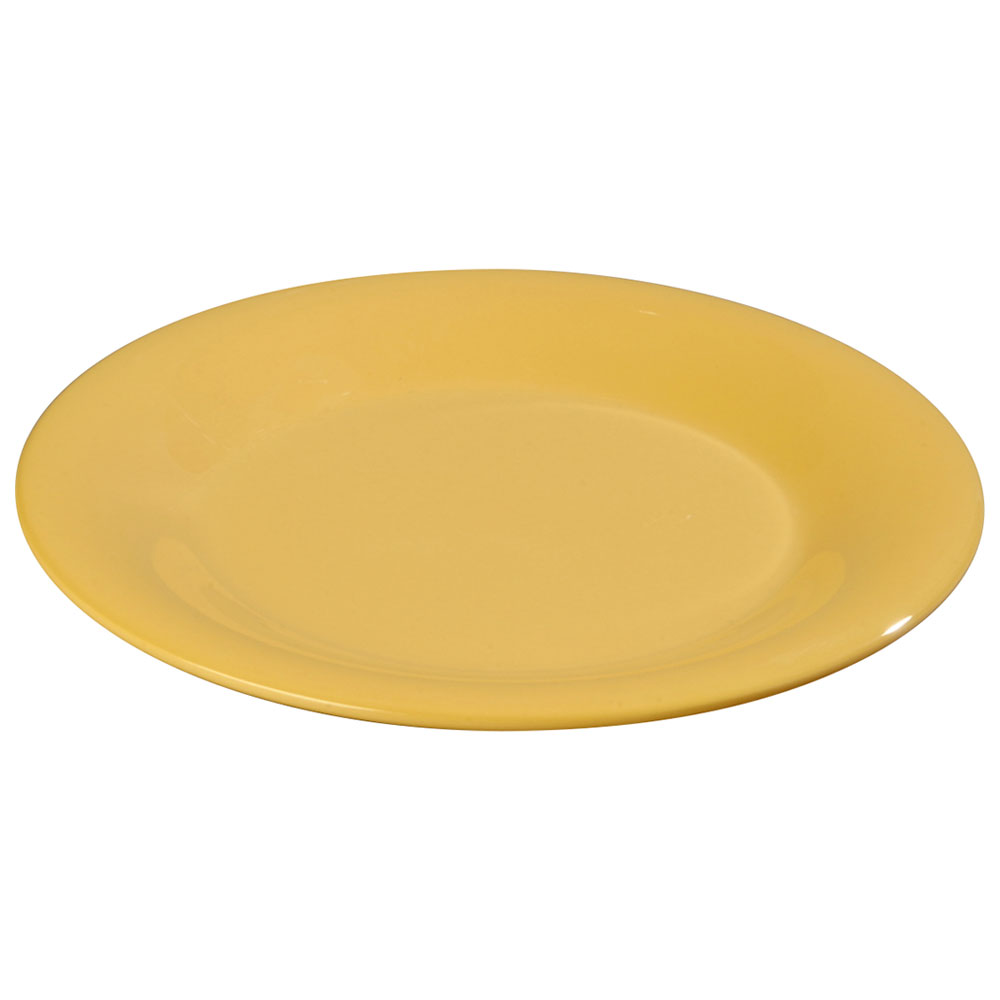 "Carlisle 3301022 10-1/2"" Sierrus Dinner Plate - Wide Rim, Melamine, Honey Yellow"