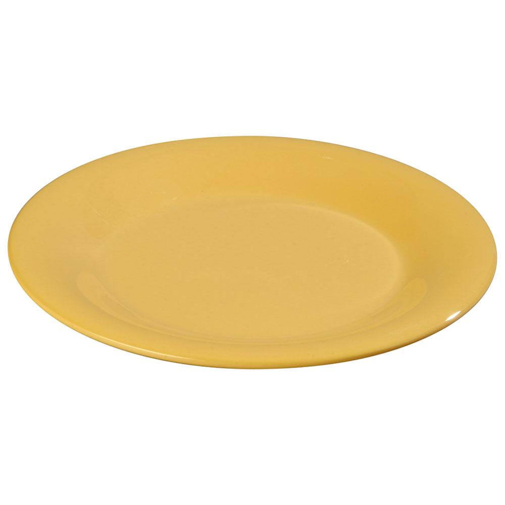 "Carlisle 3301022 10-1/2"" Sierrus Dinner Plate - Wide Rim, Melamine, Honey Yellow"