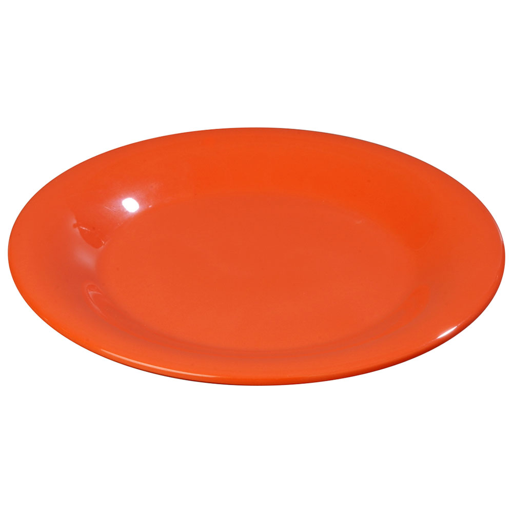 "Carlisle 3301052 10-1/2"" Sierrus Dinner Plate - Wide Rim, Melamine, Sunset Orange"