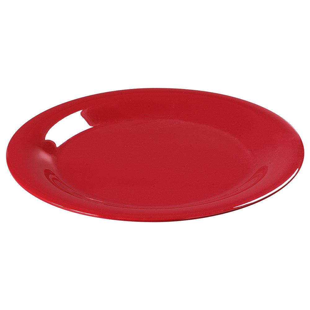 """Carlisle 3301605 7-1/4"""" Sierrus Salad Plate - Wide Rim, Melamine, Red"""