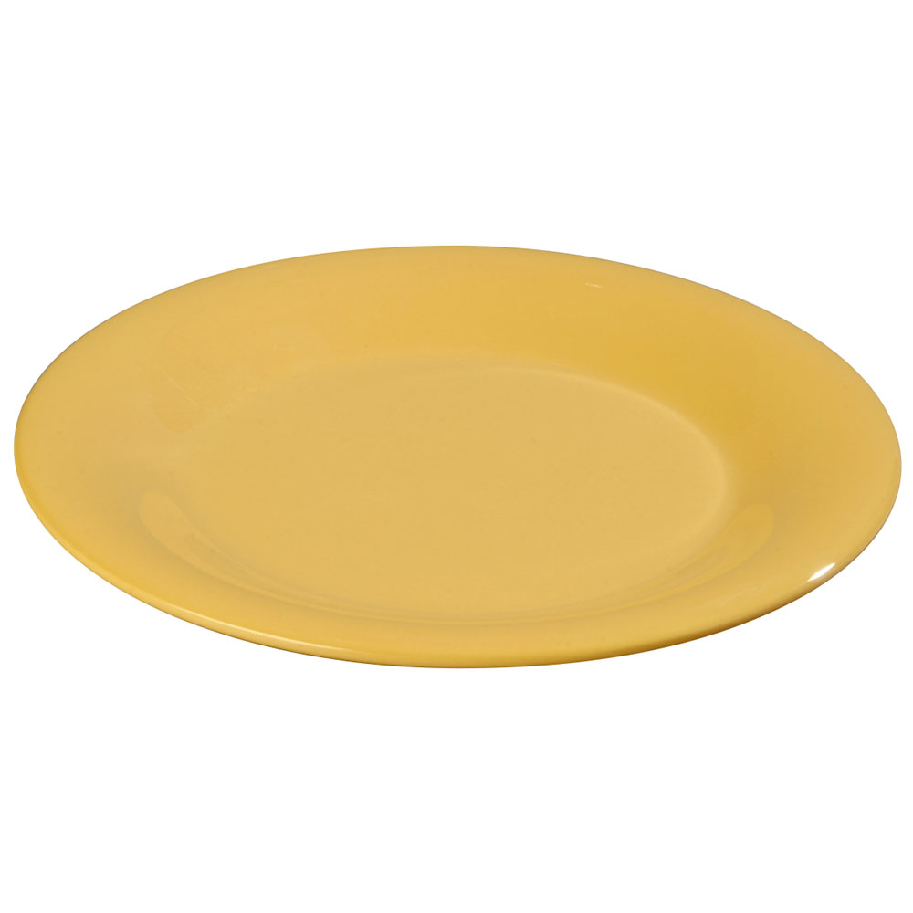 "Carlisle 3301822 6-1/2"" Sierrus Pie Plate - Wide Rim, Melamine, Honey Yellow"