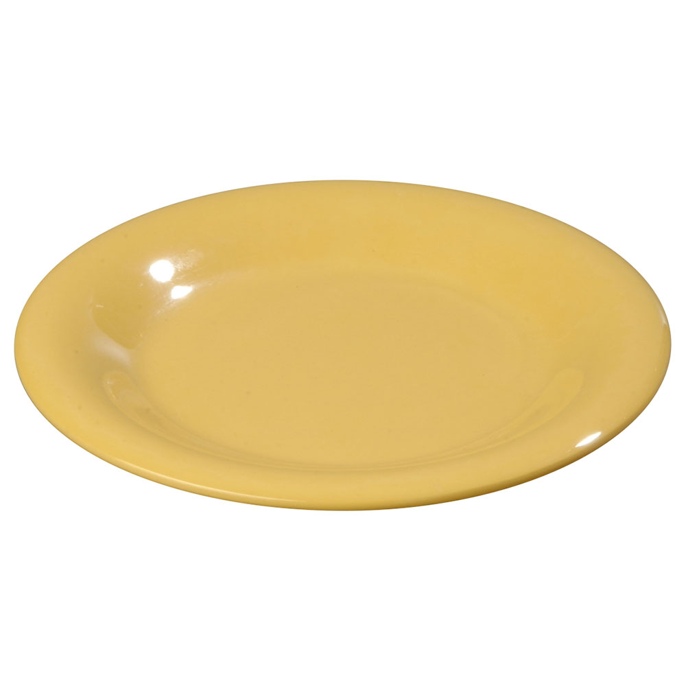 "Carlisle 3302022 5-1/2"" Sierrus Bread/Butter Plate - Wide Rime, Melamine, Honey Yellow"