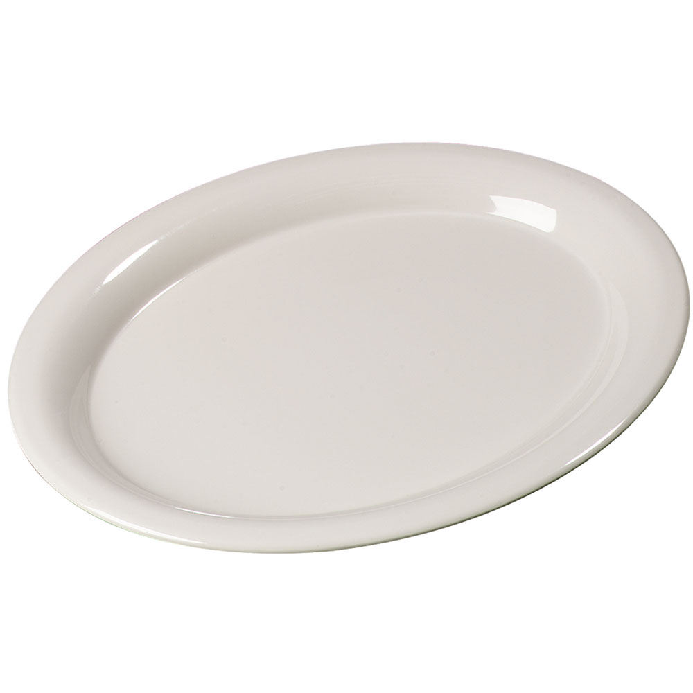 "Carlisle 3308242 Sierrus Oval Platter - 12x9-1/4"" Melamine, Bone"
