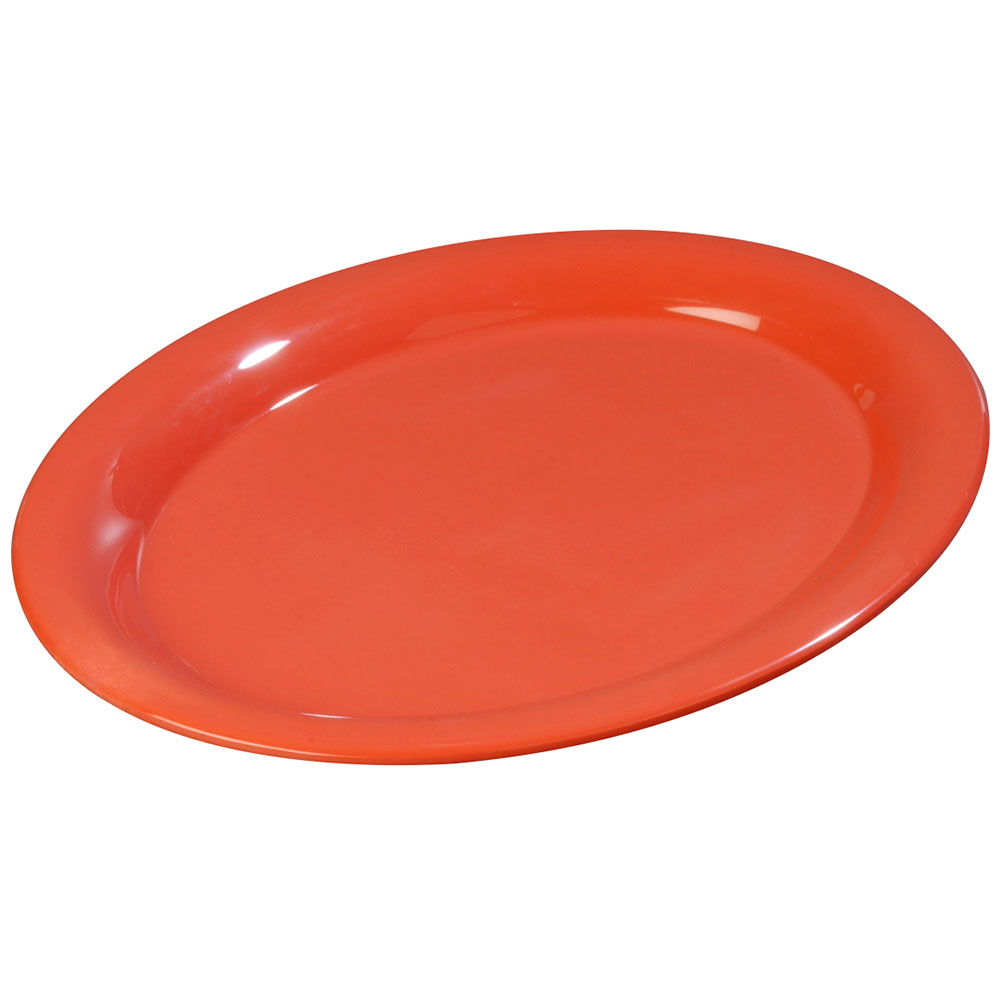 "Carlisle 3308652 Sierrus Oval Platter - 9-1/2x7-1/4"" Melamine, Sunset Orange"
