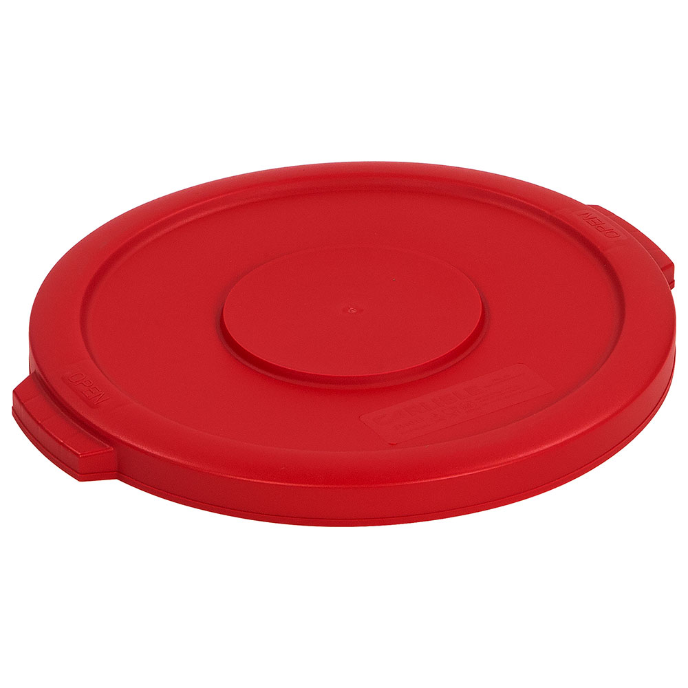 Carlisle 34101105 Round Flat Trash Can Lid - Plastic, Red