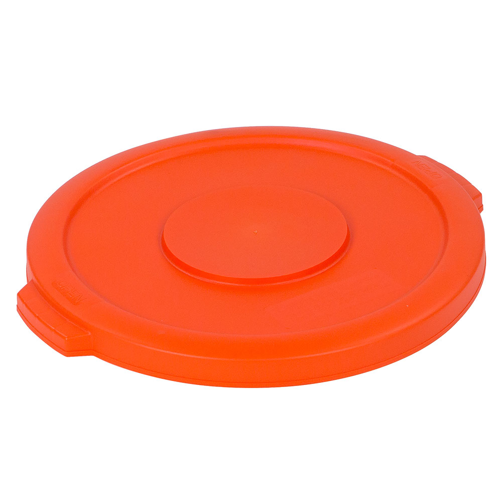 Carlisle 341011-24 Round Flat Trash Can Lid - Plastic, Orange