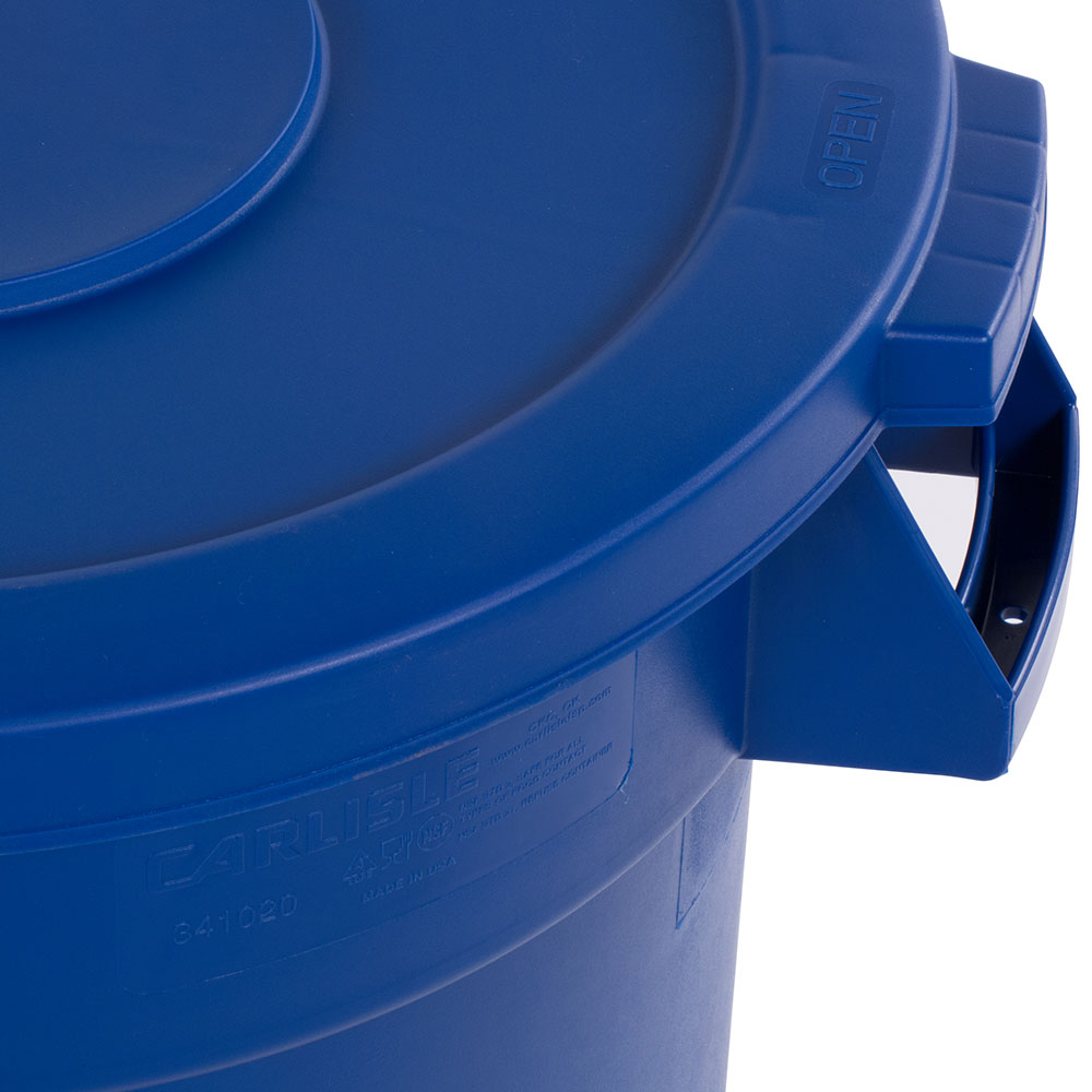 Carlisle 34102114 Round Flat Trash Can Lid - Plastic, Blue