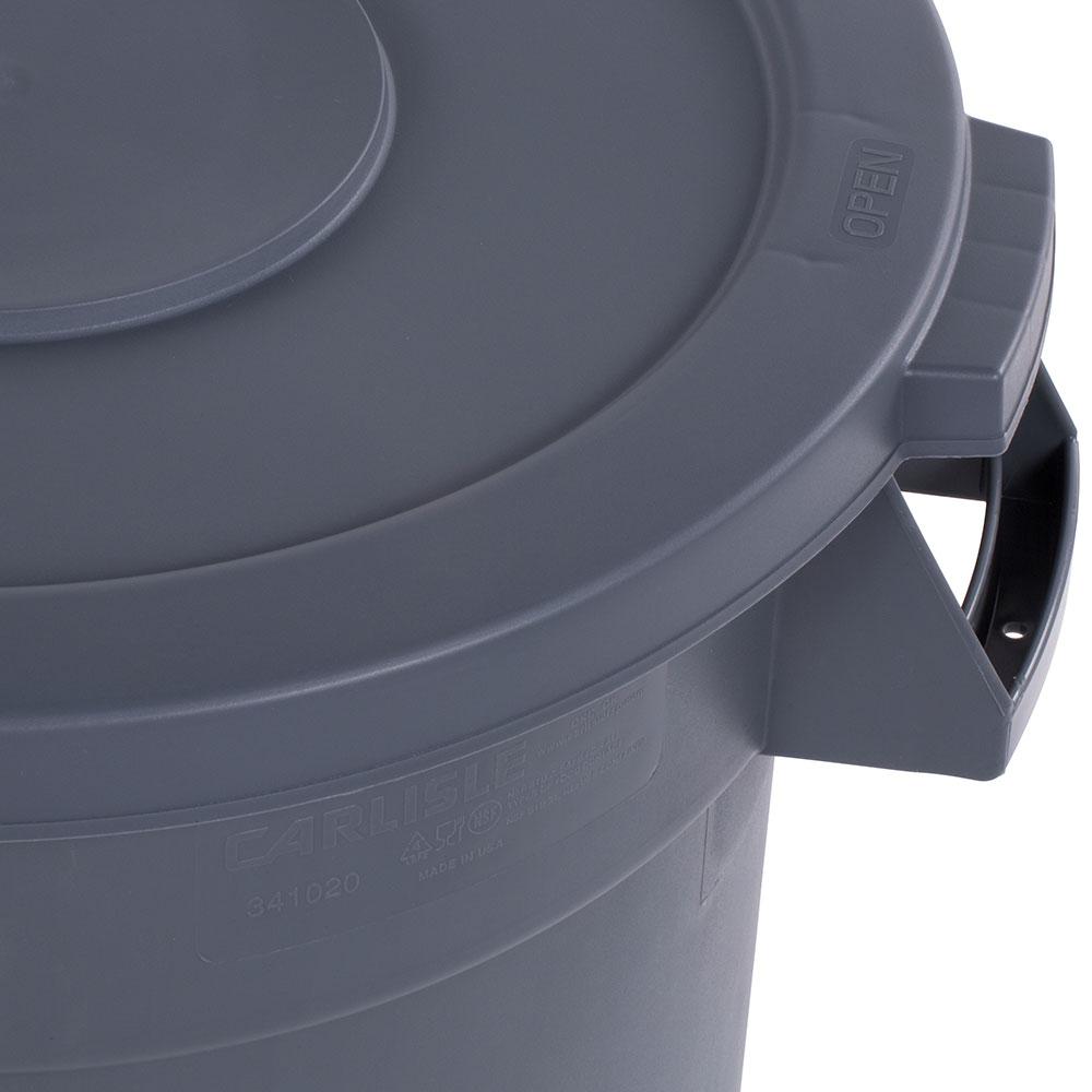 Carlisle 34102123 Round Flat Trash Can Lid - Plastic, Gray