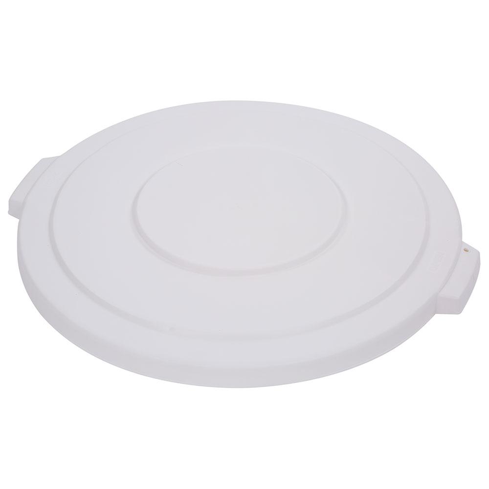 Carlisle 34103302 Round Flat Trash Can Lid - Plastic, White