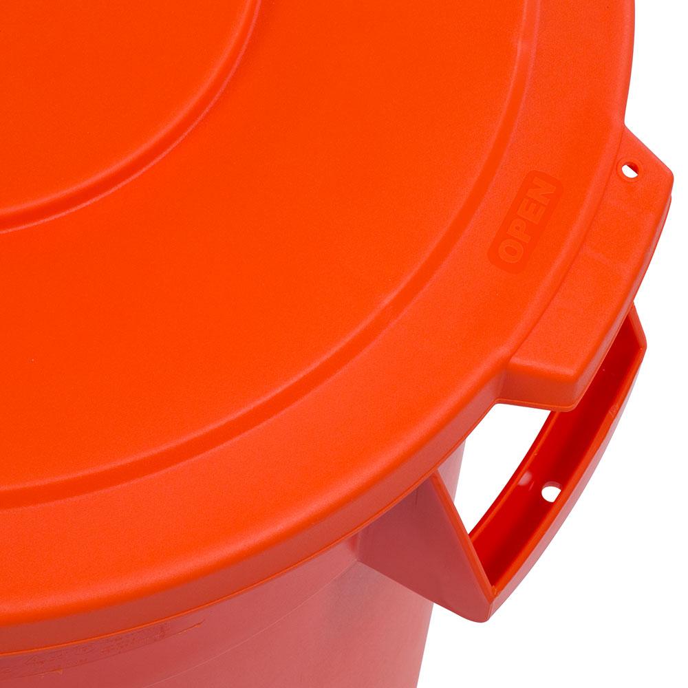 Carlisle 341033-24 Round Flat Trash Can Lid - Plastic, Orange