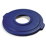 Carlisle 341033REC14 Round Recycling Trash Can Lid - Plastic, Blue
