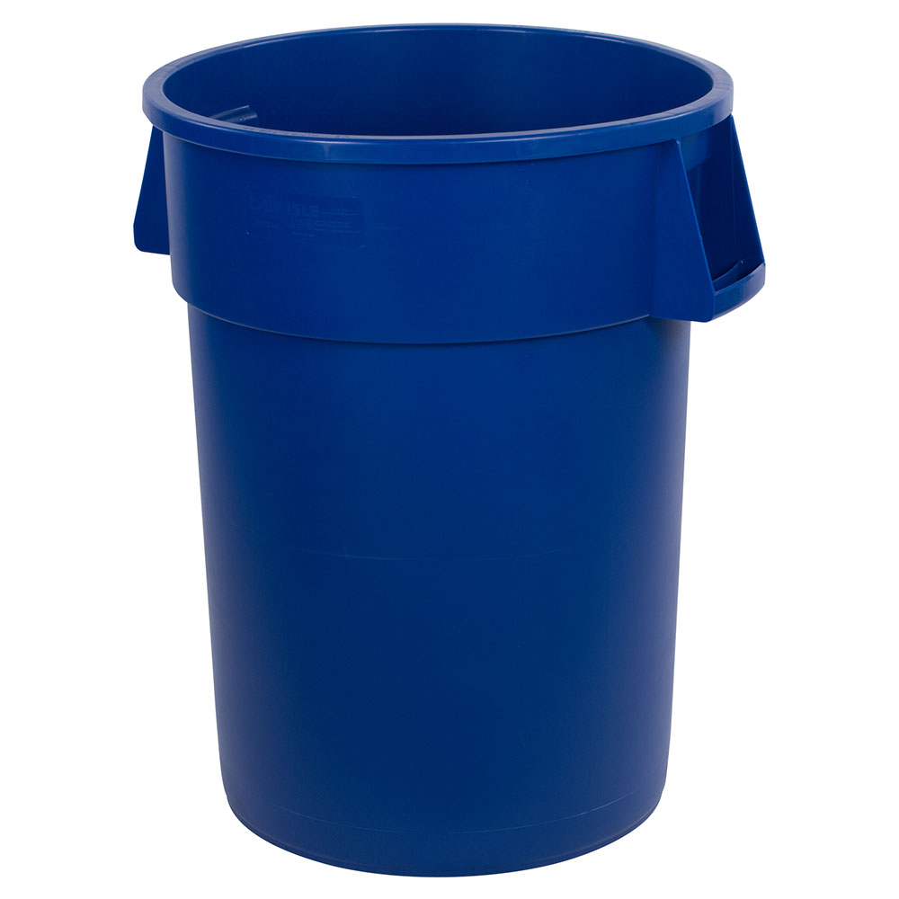 Carlisle 34104414 44-gal Round Waste Container - Handles, Polyethylene, Blue