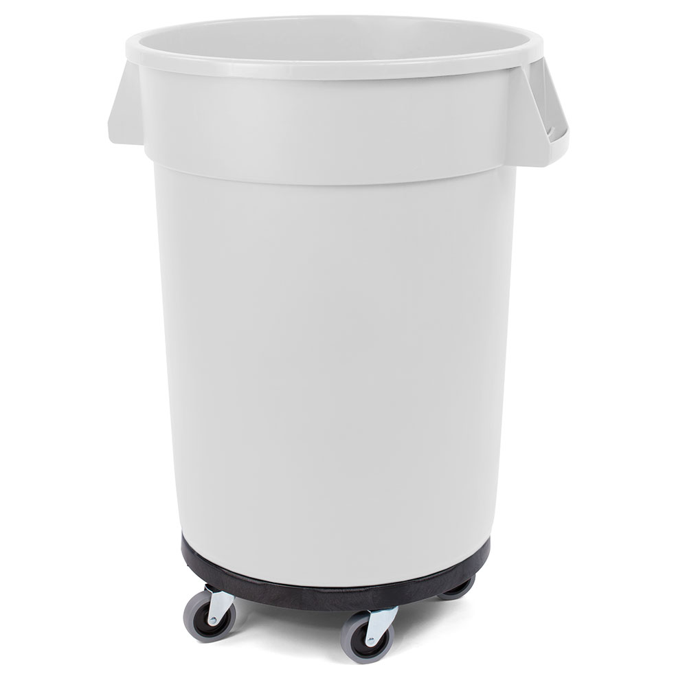 Carlisle 34113202 32-gallon Commercial Trash Can - Plastic, Round, Dolly