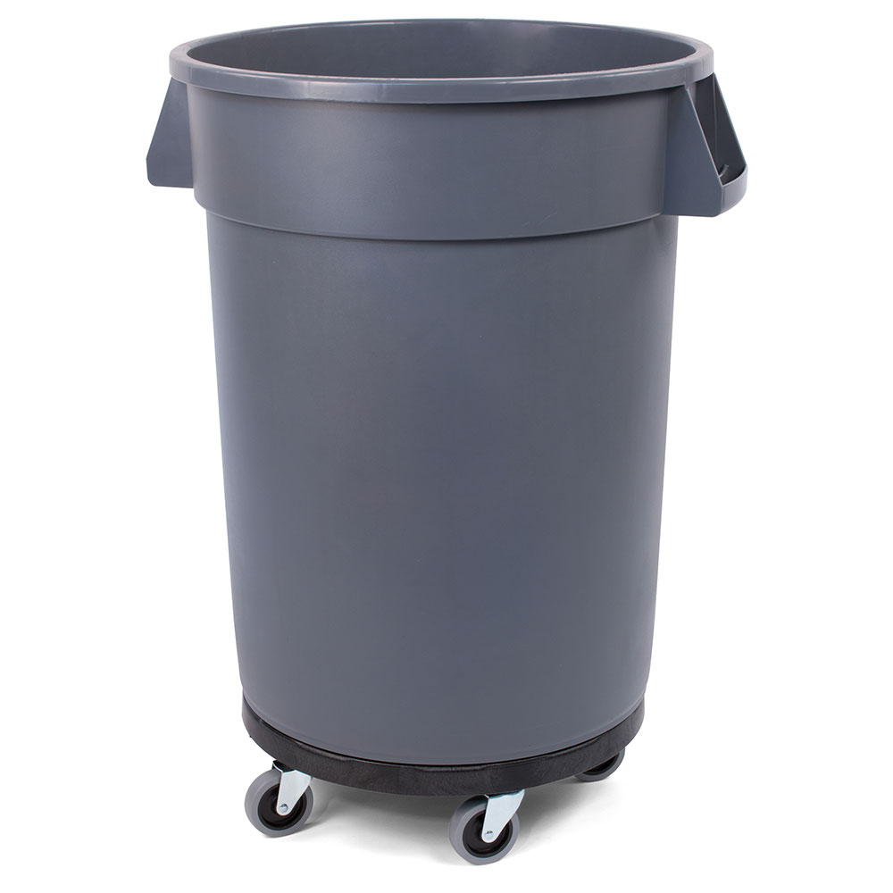 Carlisle 34113223 32-gallon Commercial Trash Can - Plastic, Round, Dolly