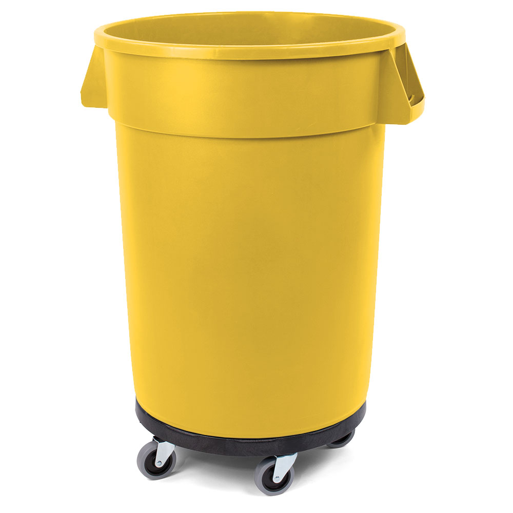 Carlisle 34114404 44-gallon Commercial Trash Can - Plastic, Round, Dolly