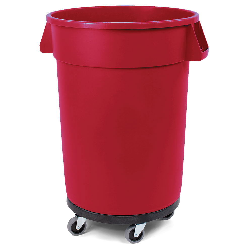 Carlisle 34114405 44-gallon Commercial Trash Can - Plastic, Round, Dolly