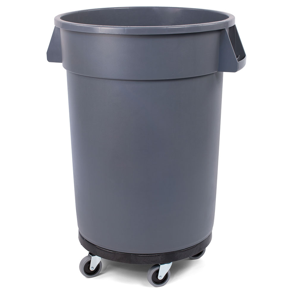 Carlisle 34114423 44-gallon Commercial Trash Can - Plastic, Round, Dolly