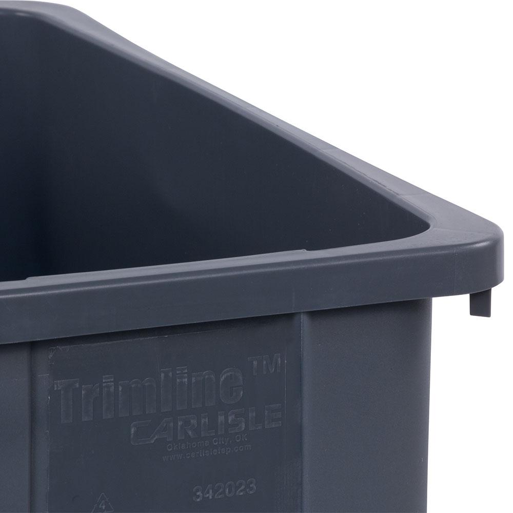 Carlisle 34202323 23-gallon Commercial Trash Can - Plastic, Rectangular, Built-in Handles, Gray