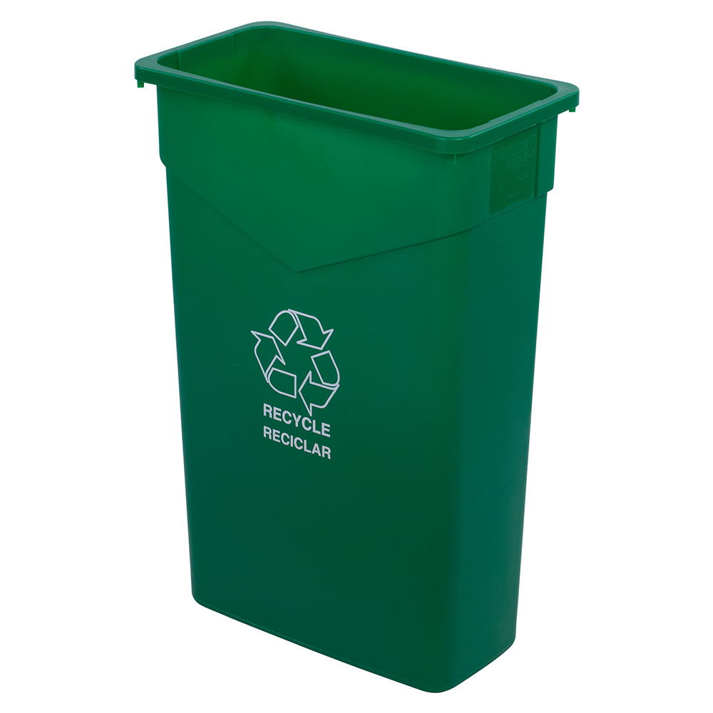 Carlisle 342023REC09 23-gal Rectangular Recycle/Waste Container - Polyethylene, Green