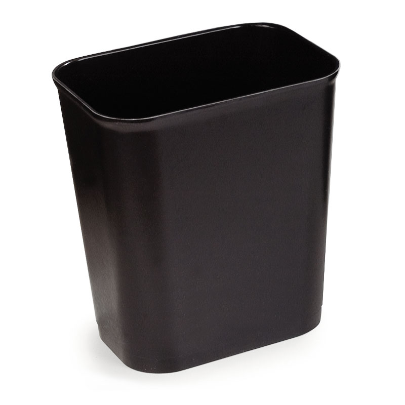 Carlisle 342915-03 14-qt Rectangle Waste Basket - Plastic, Black