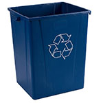 Carlisle 343950REC-14 Square Recycle Container, 50-Gallon, Poly, Blue