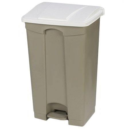 "Carlisle 34614402 12-gal Rectangle Plastic Step Trash Can, 23.62""L x 16.14""W x 15.67""H, Beige"