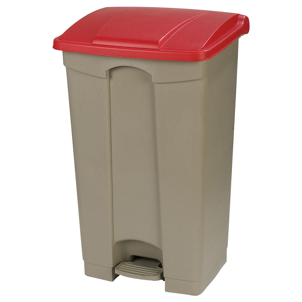 Carlisle 34614405 12-gal Step-On Waste Container - Polypropylene, Beige/Red