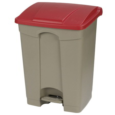 "Carlisle 34614505 18-gal Rectangle Plastic Step Trash Can, 26.38""L x 19.69""W x 15.67""H, Beige"