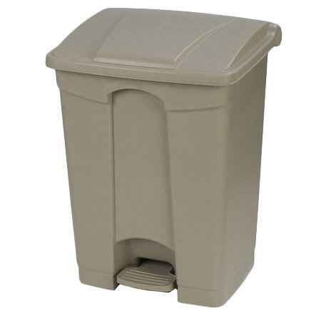 "Carlisle 34614506 18-gal Rectangle Plastic Step Trash Can, 26.38""L x 19.69""W x 15.67""H, Beige"