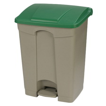 "Carlisle 34614509 18-gal Rectangle Plastic Step Trash Can, 26.38""L x 19.69""W x 15.67""H, Beige"