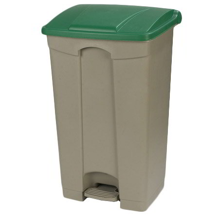 "Carlisle 34614609 23-gal Rectangle Plastic Step Trash Can, 19.69""L x 16.14""W x 32.28""H, Beige"