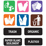 Carlisle 34RECLBL Recycle Label Kit - 11-Color Coded Symbol Labels, 3-Sets Word Labels