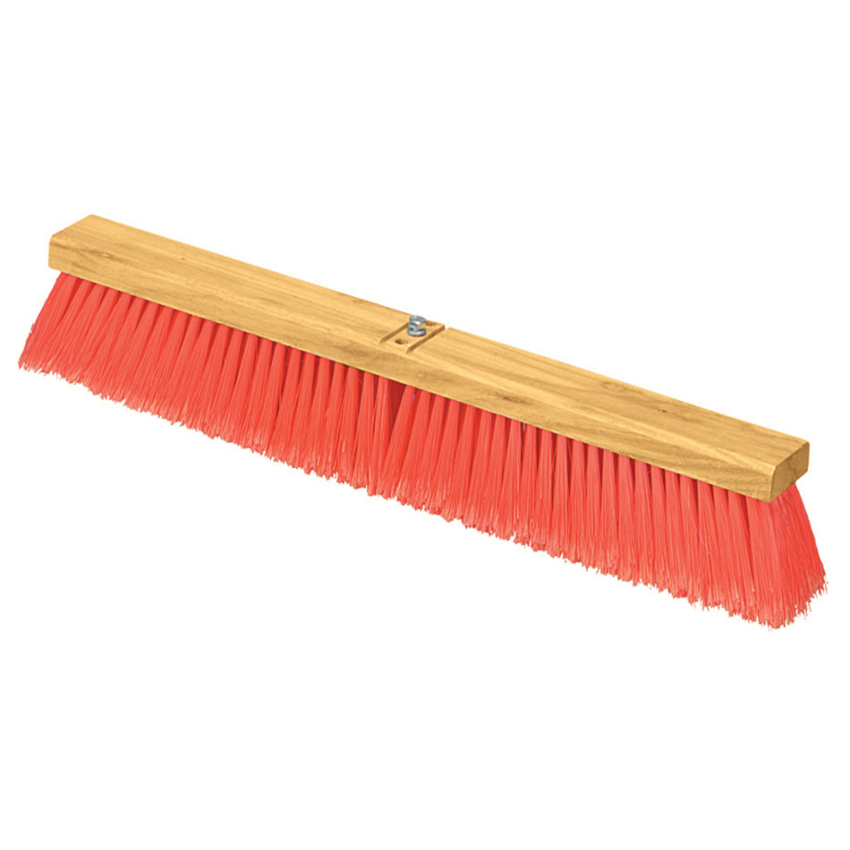 "Carlisle 3610221824 18"" Floor Sweep - Fine/Medium Block, Hardwood Block, 3"" Orange Poly Bristles"