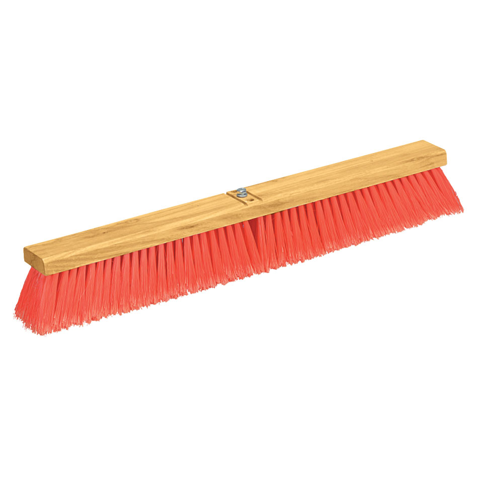 "Carlisle 3610222424 24"" Floor Sweep - Fine/Medium Block, Hardwood Block, 3"" Orange Poly Bristles"