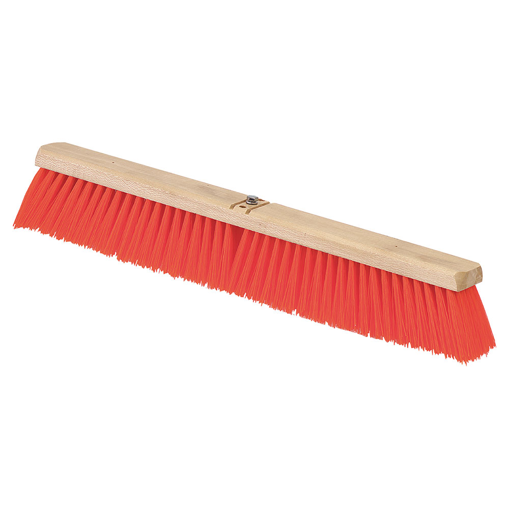 "Carlisle 3610762424 24"" Juno Floor Sweep - Wood Block, Orange Poly Bristles"
