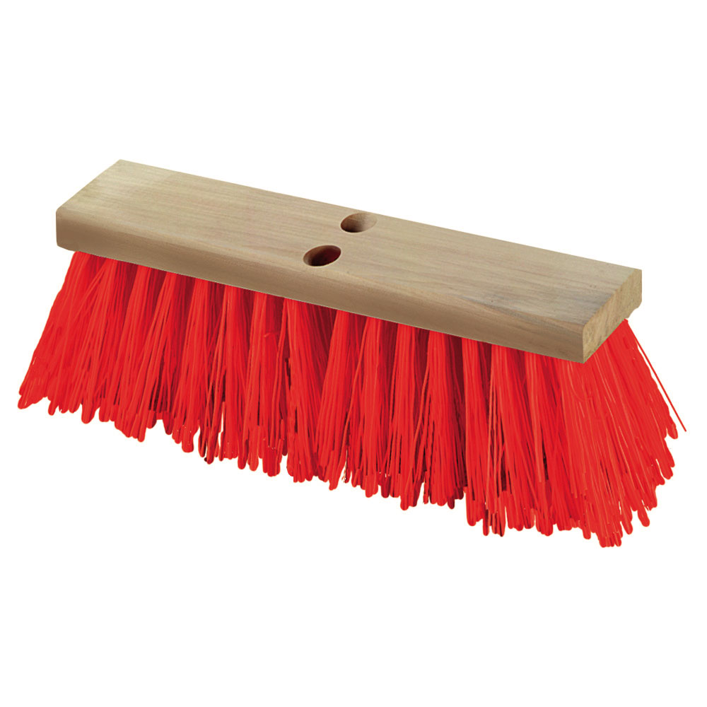 "Carlisle 36111624 16"" Street Sweep - Heavy, Hardwood Block, 5-1/8"" Orange Poly Bristles"